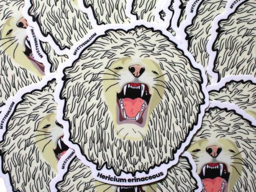 Hericium erinaceous (Lion's Mane) Mushroom Sticker Pun Funny Mushroom Gift